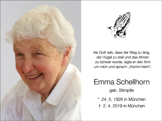 Sterbebild Emma Schellhorn innen